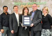 PCL was awarded one of 10 Outstanding Employer awards from The Learning Partnership for Take Our Kids to Work Day. From left: PCL superintendent Paul Rodrigues, PCL executive vice-president Chris Gower, The Learning Partnership's Maureen Deery, PCL vice-president and district manager Bob Martz, and PCL human resources manager Michelle Arthurs.