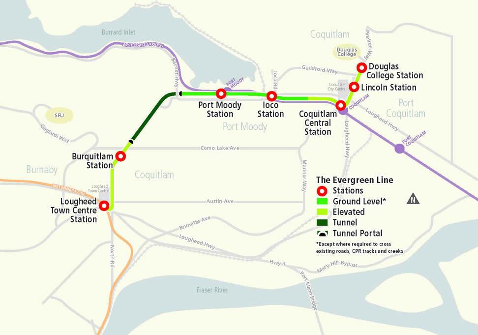 Evergreen Line alignment map