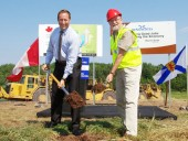Minister of National Defence and Regional Minister for Nova Scotia Peter McKay and Nova Scotia Minister of Transportation and Infrastructure Renewal Maurice Smith pose for a photo during the groundbreaking ceremony for Phase 2 of the Highway 104 project, held on Aug. 31 in Antigonish, N.S.  Image: Transport Canada.