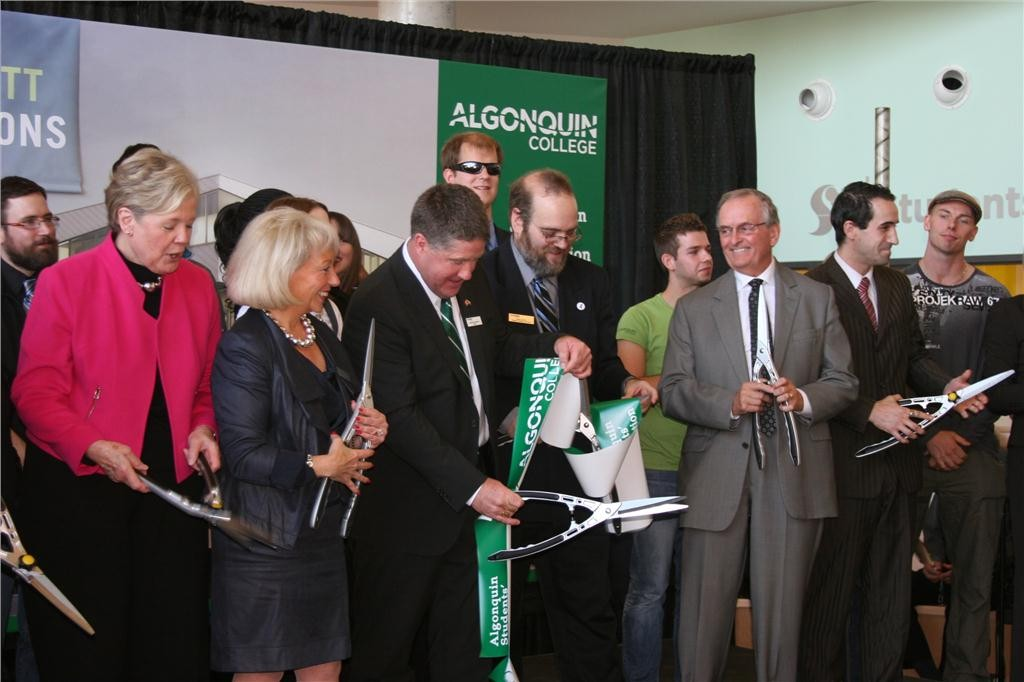 Algonquin College held a ribbon-cutting ceremony to mark the opening of its $52-million Robert C. Gillett Student Commons Building. (From left) Deborah Rowan-Legg. former vice-president of student services, Barbara Farber, member of the Algonquin College Board of Governors, Algonquin College president Kent MacDonald, Students' Association president David Corson, past-president Robert C. Gillett and former Students' Association president Jacob Sancartier. Photo courtesy of Algonquin College.