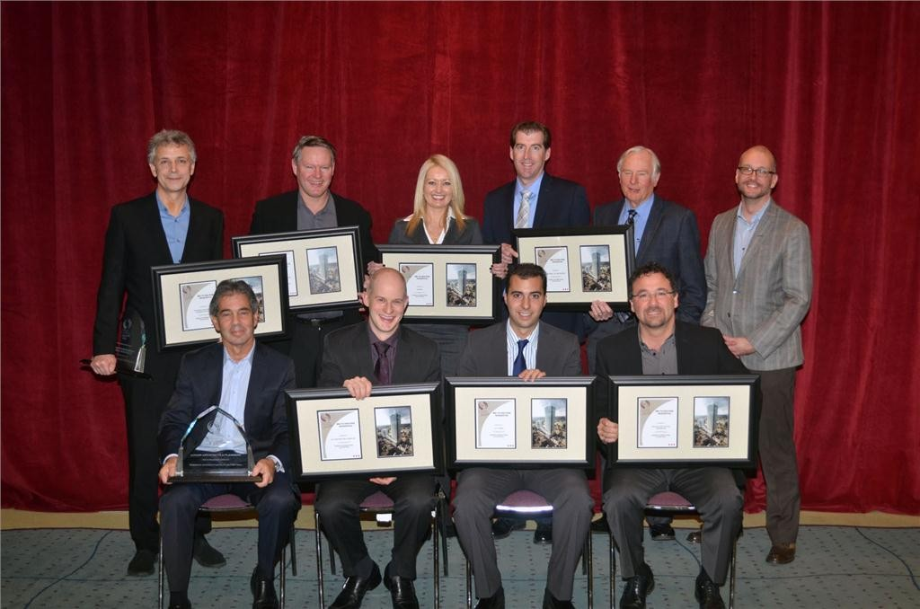 Members of the Toronto International Film Festival team pose for a photo after being awarded the Ontario Concrete Award for the Mid to High Rise Residential category on Nov. 28 at the Metro Toronto Convention Centre.