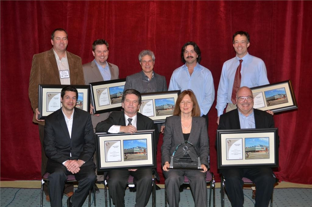 Members of the CANMET Materials Technology Laboratory team pose for a photo after being awarded the Ontario Concrete Award for the Institutional Building category on Nov. 28 at the Metro Toronto Convention Centre.