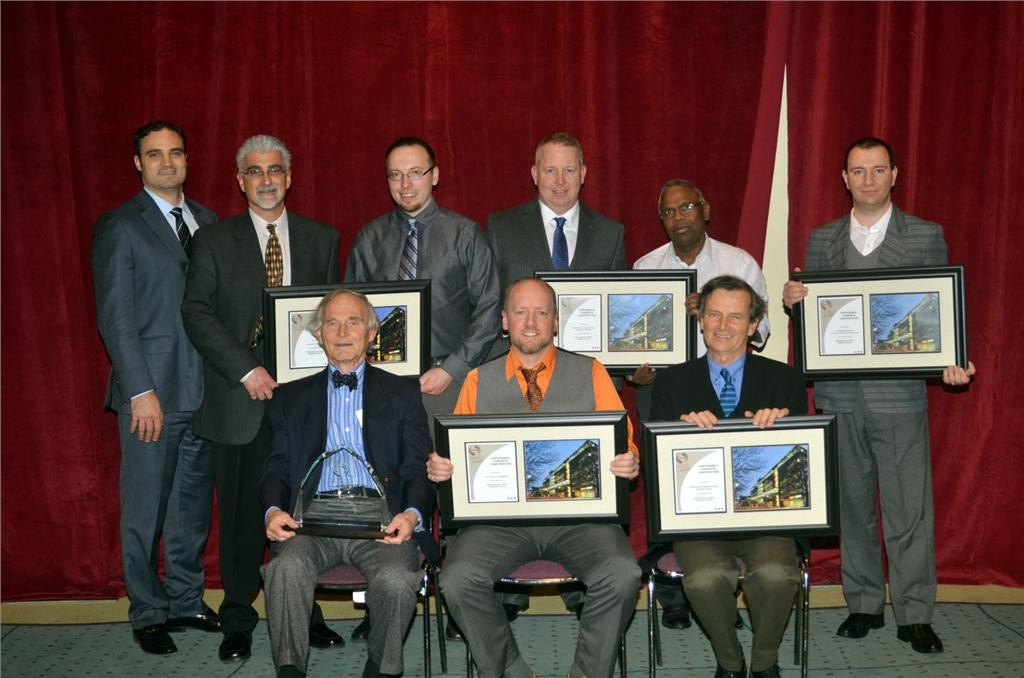 Members of the New Carlisle Street Parking Facility team pose for a photo after being awarded the Ontario Concrete Award for the Sustainable Concrete Construction category on Nov. 28 at the Metro Toronto Convention Centre.