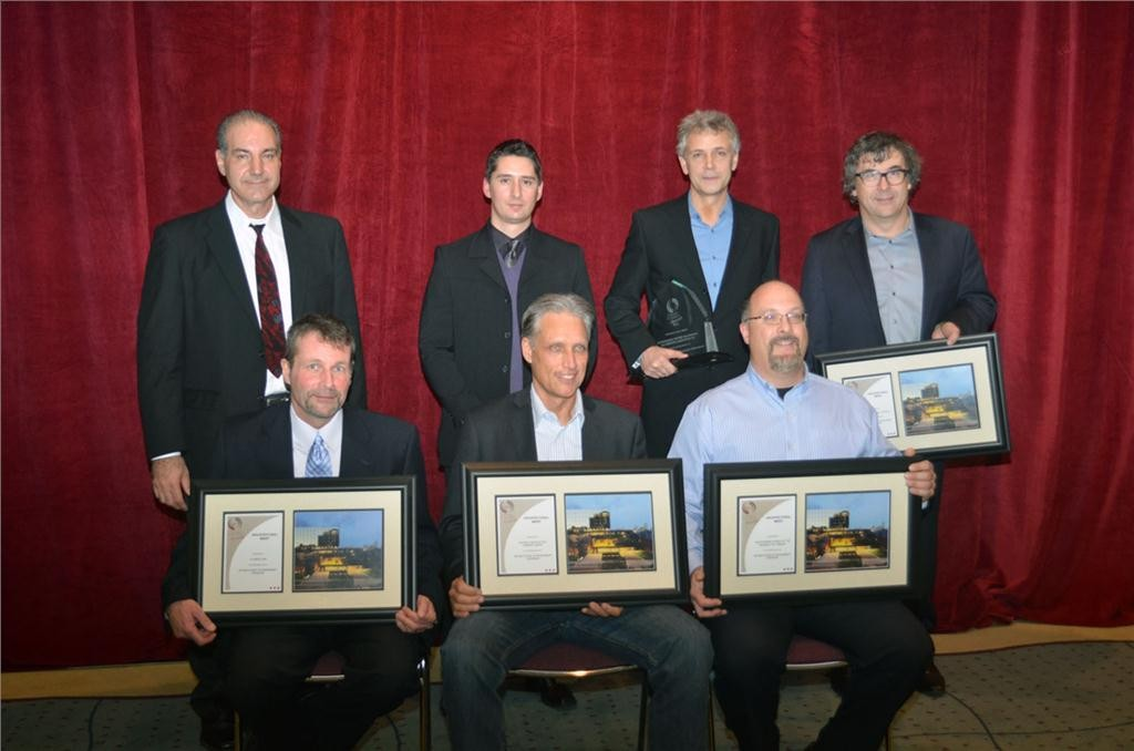 Members of the Rotman School of Management Expansion team pose for a photo after being awarded the Ontario Concrete Award for the Architectural Merit category on Nov. 28 at the Metro Toronto Convention Centre.