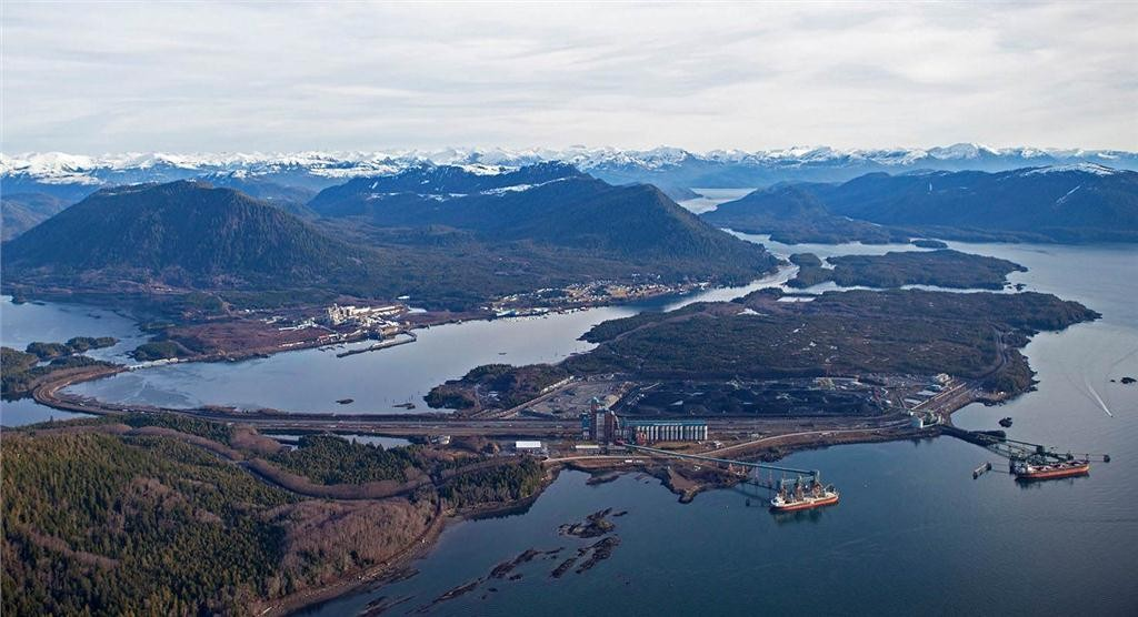 """""""The Ridley Island Industrial Site, at the Port of Prince Rupert, will be ringed by a road, rail and utility corridor that links proposed terminal developments to existing rail and port infrastructure. (CNW Group/Prince Rupert Port Authority)""""."""