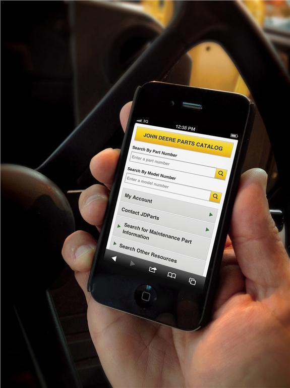 John Deere's new mobile version of its parts website.