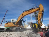 A Sonsray CX350C excavator puts on a demonstration at CONEXPO-CON/AGG 2014 on March 4, 2014 in Las Vegas, Nev.