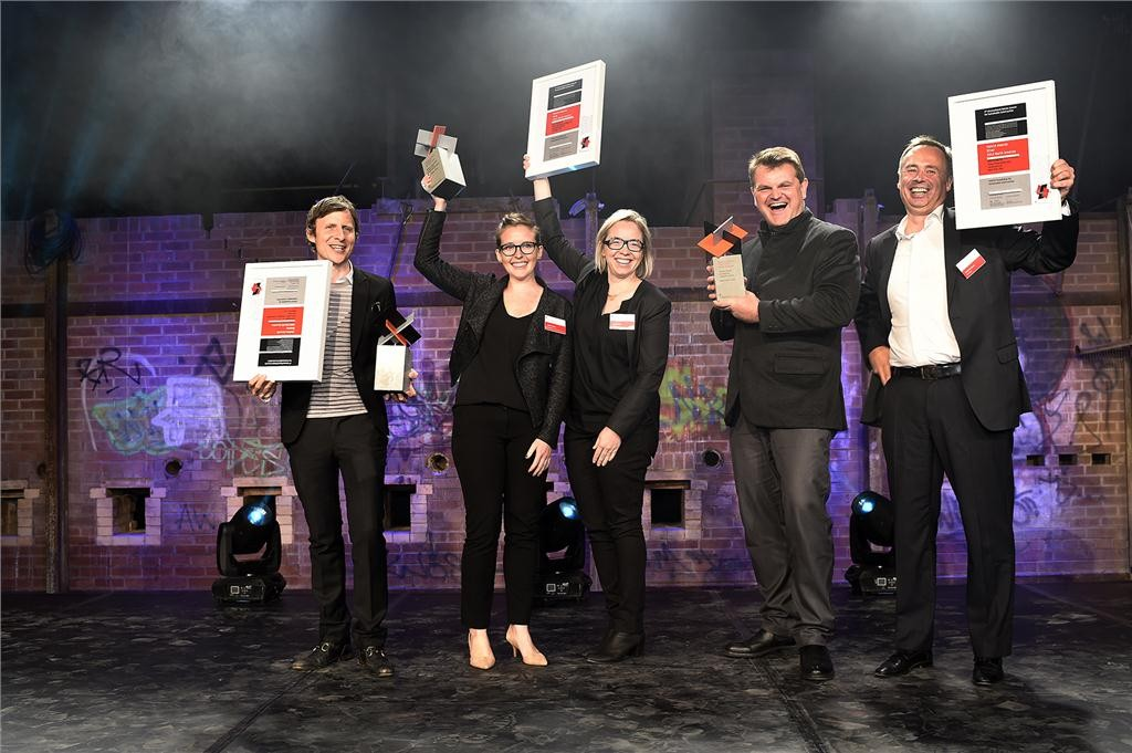 The 2014 Holcim Awards winners in the North American competition receive their awards at Evergreen Brick Works in Toronto on Sept. 18, 2014. (From left to right): David Benjamin (bronze), Caitlin Taylor and Amy Mielke (gold), Kai-Uwe Bergmann and Bjarke Ingels (silver).