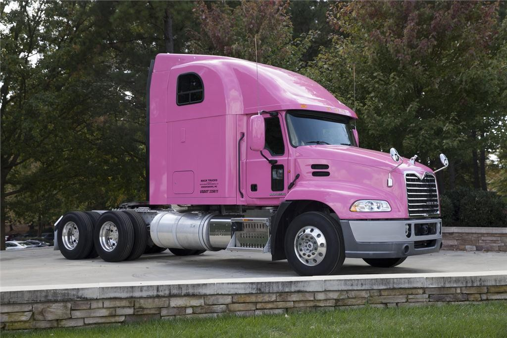 A pink Mack Pinnacle Axle Back model will be on display at the company's headquarters in Greensboro, N.C. for the month of October.