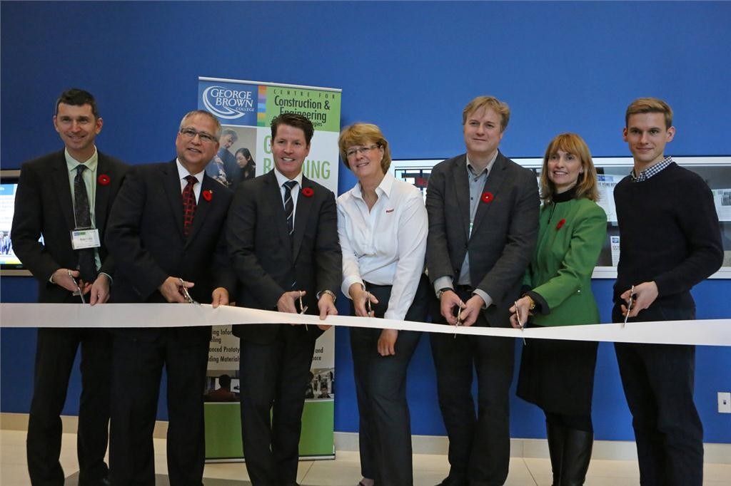Official opening of George Brown College's Green Building Centre in Toronto, ON, on November 10, 2014.  (L to R): Robert Luke, vice president, applied research and innovation, George Brown College; Gary Goodyear, Minister of State for FedDev Ontario; Bernard Trottier, MP Etobicoke-Lakeshore; Trudy Puls, Roxul; Jamie McIntyre, program coordinator, George Brown College; Laura Jo Gunter, vice president, academic, George Brown College; and Brad Shapiro, George Brown student.