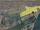 Map of existing and future flood protection areas, including the Port Lands and adjacent areas that are currently not flood protected