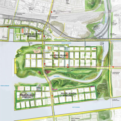 Overhead view of Don Mouth Naturalization and Port Lands Flood Protection Project