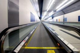 The $82.5M pedestrian tunnel connecting Billy Bishop airport with downtown Toronto is 32 meters underground, 11 meters wide, 9.5 meters hight and stretches 186 meters under the Western Gap of the Toronto Habour.