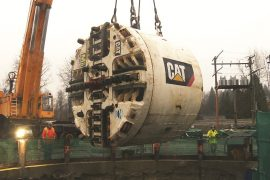 """The Port Mann tunnel boring machine, Squirrel, came within """"an inch"""" of its final target finish. The water main project is now in second phase."""