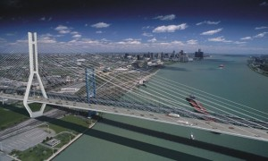 The Windsor Detroit Bridge project includes a six-lane bridge, providing three Canada-bound lanes and three US-bound lanes over the Detroit River. Two bridge types were considered under the DRIC study - cable stayed and suspension. The bridge will have a clear span of 850 metres/2788 feet across the Detroit River with no piers in the water.