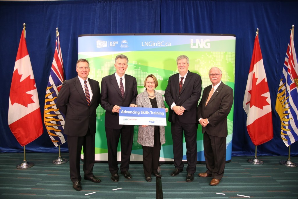 Gary Herman, Industry Training Authority CEO, Andy Calitz, LNG Canada CEO, Shirley Bond, Minister of Jobs, Tourism and Skills Training and Minister Responsible for Labour, Rich Coleman, Minister of Natural Gas Development and Minister Responsible for Housing, and Manley McLachlan, president, BC Construction Association at the news conference announcing the LNG Canada - Trades Training Fund