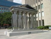 The Pillars of Justice stand in a Toronto park not far from the future site of a new courthouse. AECOM has been awarded the planning, design, and compliance contract. An RFP for the AFP project will be issued in the spring.