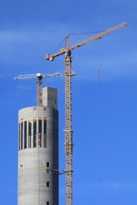 Two Liebherr tower cranes working on the construction of the elevator test tower in Rottweil.