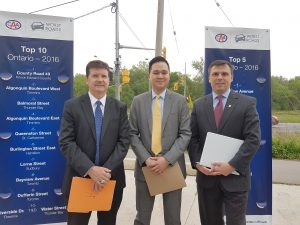 (left to right) Geoff Wilkinson, ORBA Executive Director, Raymond Chan, Government Relations Specialist at CAA South Central Ontario, Stephen Buckley, General Manager of Transportation Services at City of Toronto.