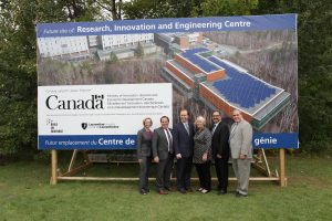 Jennifer Witty, Chair of the Board of Governors at Laurentian University, Members of Parliament Marc Serré and Paul Lefebvre, Deputy Premier Deb Matthews, Energy Minister and Sudbury Member of Provincial Parliament Glenn Thibeault, Dominic Giroux, President and Vice-Chancellor Laurentian University. (CNW Group/Laurentian University)