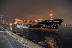The Valencia Express was the first ocean-going vessel to reach the Port of Montreal without a stopover in 2015. (CNW Group/Montreal Port Authority)