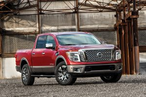 CHICAGO (Feb. 11, 2016) ñ Nissan TITAN will be available in 4x2 or 4x4 drive configurations with three cabin configurations ñ Crew Cab, King Cab and Single cab ñ and three bed lengths ñ 5.5, 6.5 and 8 feet. Similar to TITAN XD, TITAN will be available in five trim levels ñ S, SV, PRO-4X, SL and Platinum Reserve. The TITAN will be powered by Nissanís 5.6-liter EnduranceÆ V8 gasoline engine capable of 390 horsepower and 401 lb.-ft. of torque. This engine will be mated to a 7-speed automatic transmission. A V6 gasoline engine will also be available (details to be announced at a later date).