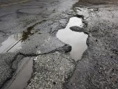 Big pothole caused by freezing and thawing