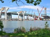 "Transportation, "" An updated shot, June 2018, of the Champlain Bridge construction Site"""