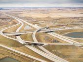 Aerial view of rural freeway interchange outside Calgary