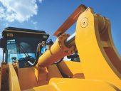 Bulldozer with yellow scoop
