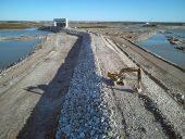 Keeyask dike and spillway excavator