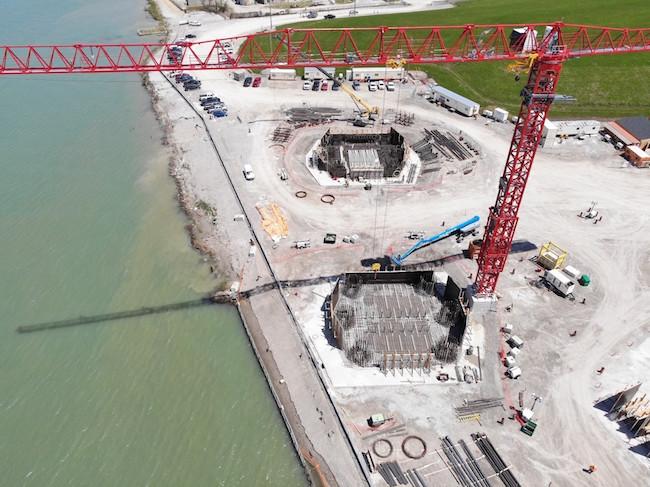 SITE HOWE Aerial shot of Canadian bridge site