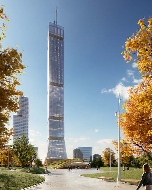 mass timber wood DIALOG, Supertall Prototype – Exterior, Tower & Landscape, Looking West
