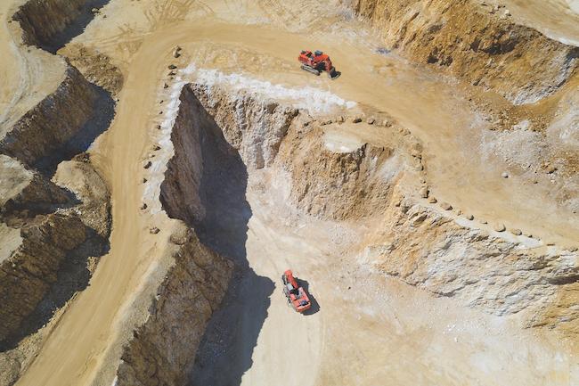 Excavators in a Quarry, Aerial View