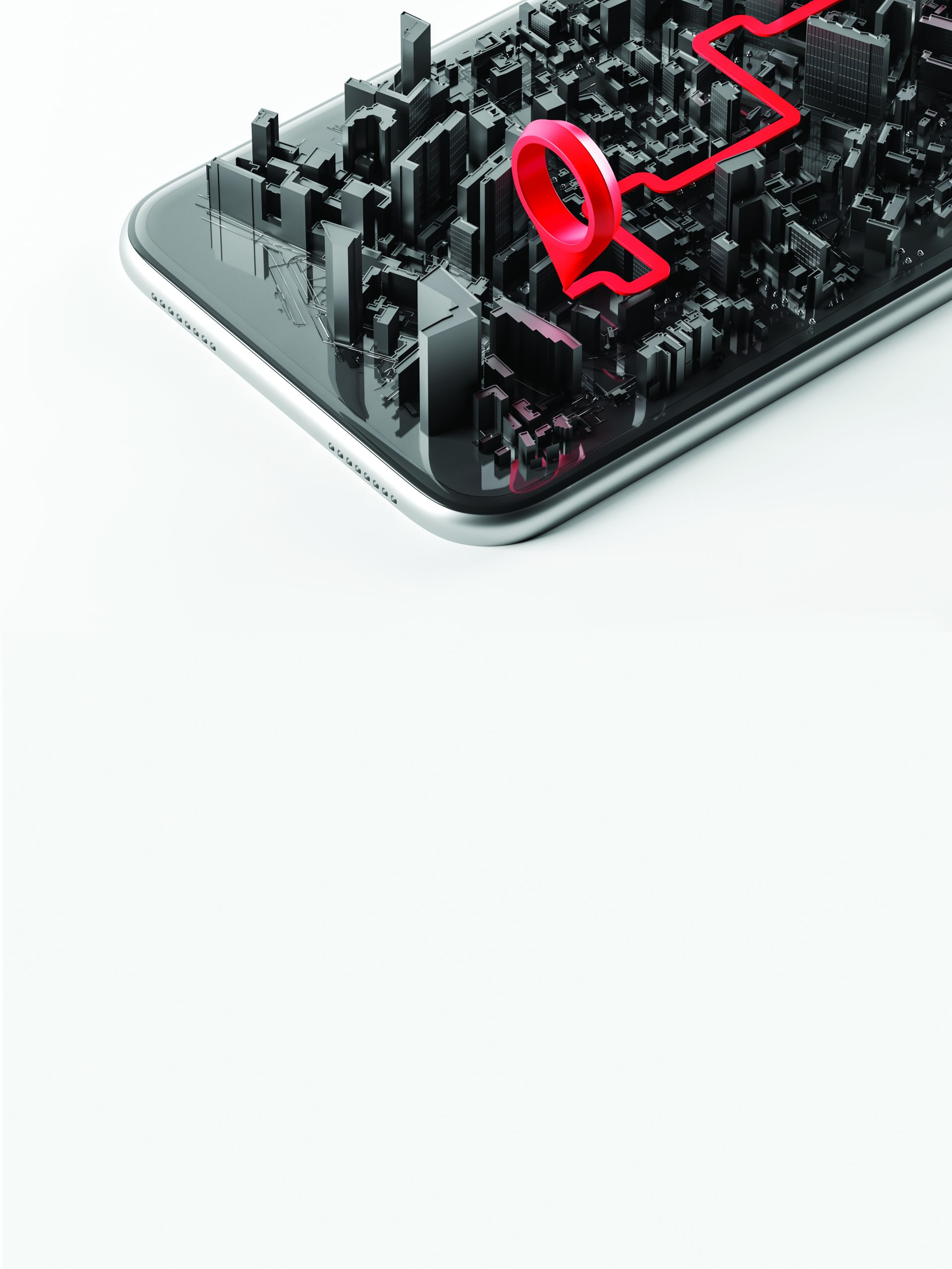 Realistic smartphone screen with an open three-dimensional city map and a red geotag on a white background. The concept of a navigator, travel guide. Close Up. 3d rendering
